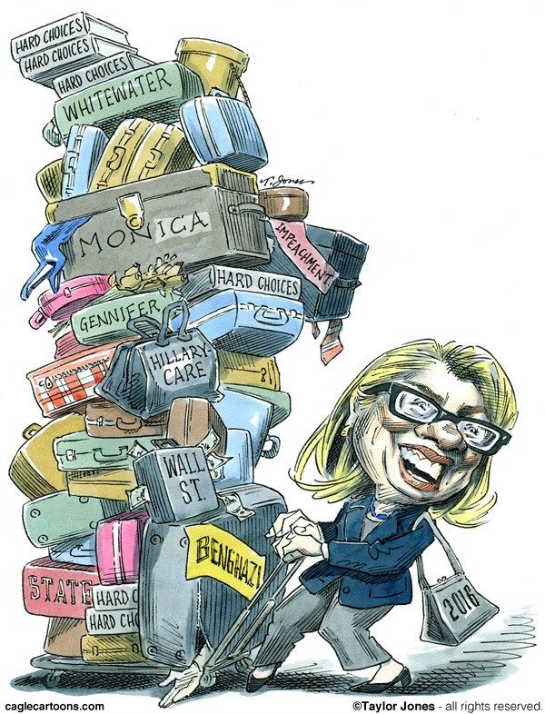Hillary not packing lightly - Taylor Jones drawing for Cagle Cartoons and the Hoover Digest.