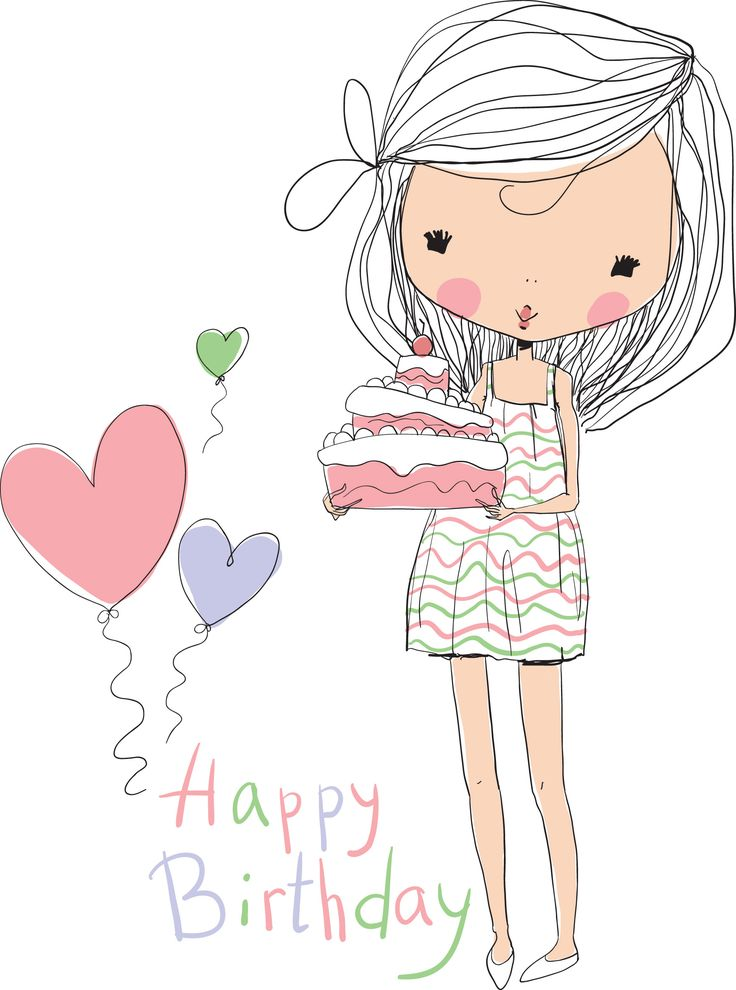 Happy Birthday Girl Illustration ~ Las mejores ideas sobre feliz aniversario en pinterest deseos de