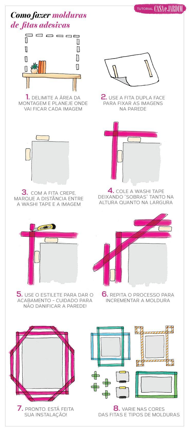 Faça molduras com fita adesiva washi tape, uma forma simples de renovar a decoração da sua casa sem furadeira!
