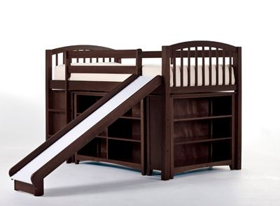 Junior Loft Bed with Cases and Slide in Chocolate