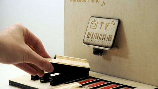 Barcode piano by trive. Barcode Piano is a music instrument and a toy for children to explore and understand the essential principles behind barcodes. Barcodes are unique information holders and can be used to identify entities such as mail, products or patients by reading the unique information embedded in the barcode's numbers and lines.