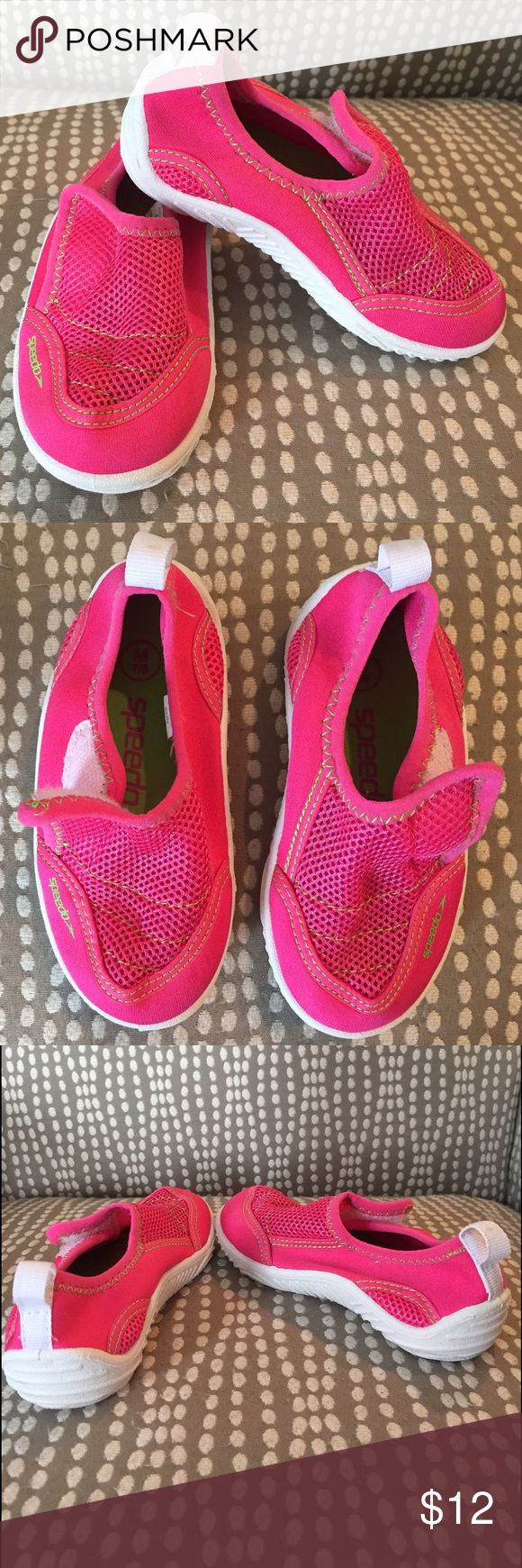 Speedo water shoes toddler girl - Size 7/8M Speedo water shoes toddler girl - Size 7/8M.  Pink/green/white.  Velcro closure.  Great condition- Worn just a few times.  Some staining on white sole from use, as shown in pictures. Speedo Shoes Water Shoes