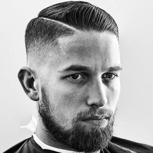 Low Bald Fade with Hard Part and Comb Over