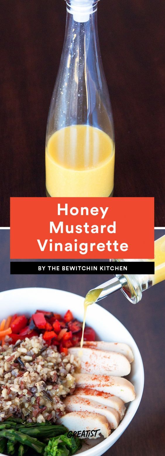 Honey Mustard Vinaigrette  Store-bought honey mustard tends to be loaded with sugar, but a few healthy swaps and it can be perfect for Paleo. This easy recipe calls for just four ingredients and tastes like a salad you'd pay $12 for (we all do it). Combine lemon juice, Dijon mustard, honey, and olive oil for a sweet dressing that has a hint of a kick.