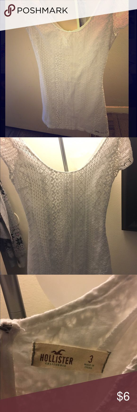 White lace hollister dress Short hollister white lace dress, very cute and form fitting Hollister Dresses Mini