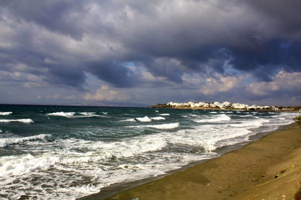 Tinos island on a windy day