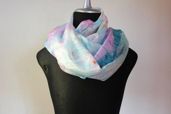 sciarpa seta tinta a mano/stole silk/sciarpa blu rose/scarf silk hand dyed/foulard silk/ shibori scarf/galaxy scarf/marble/100%silk
