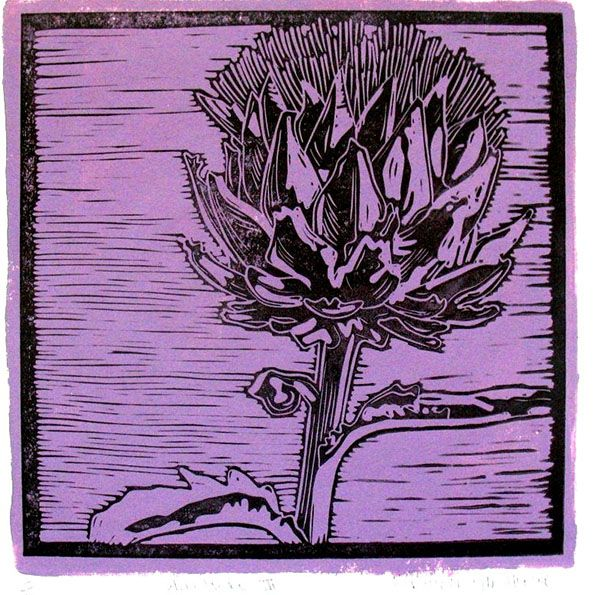 Title: Artichoke IV (Purple) Medium: Linotype Edition: 3/10 Size: 200 x 200mm Artists thoughts: Artichokes are wholesome food with deeper symbolic meaning to me. The vegetable needs to be cooked well to be enjoyed. The hard outer layers need to be peeled away to get to the heart of the artichoke. God also peeles away our outer layers to get to our heart – He is interested in our hearts.