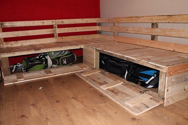 DIY Pallet Sectional Sofa with Storage | 99 Pallets