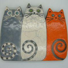 Plaque murale trio de chats technique raku