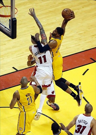 Paul George dunks over Chris Anderson in Game Two of the 2013 Eastern Conference Finals