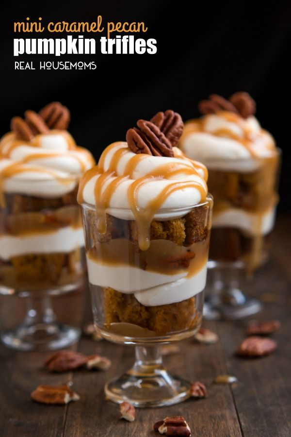 PECAN PUMPKIN TRIFLES layered with rich caramel, pecans, cheesecake ...