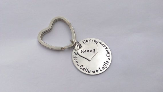 Personalised Nanny keyring keychain - Hand stamped personalized keyring -  Birthday gift present for Nan Mum Grandma Granny Mom Mummy Mommy