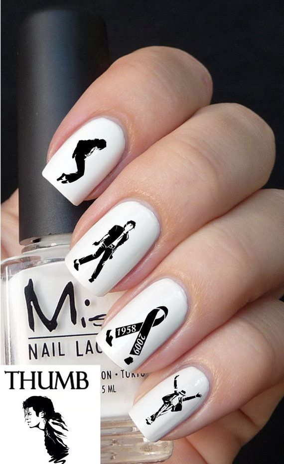 Micheal Jackson Nail decal by DesignerNails on Etsy, $3.95