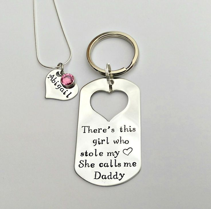 Personalised Daddy Daughter keyring and necklace set - This girl stole my heart, she calls me Daddy - personalised Dad Daddy gift present by EmsStampedJewellery on Etsy