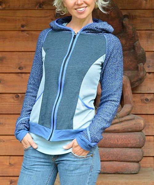 Look at this Spicy Green Mango Dark Blue & Blue Zip-Up Hoodie on #zulily today!
