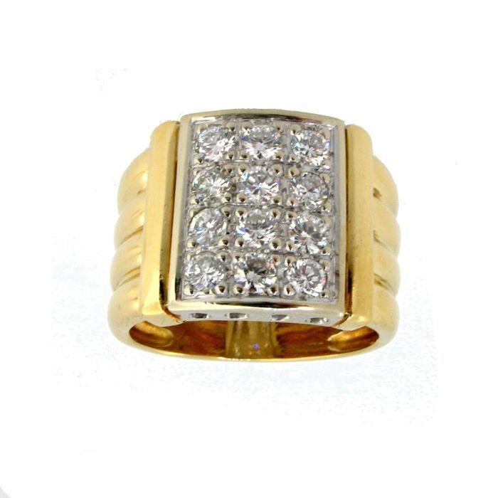Catawiki pagina online de subastas Sortija en oro 18Kt con Diamantes corte brillante acompañada de Certificado Gemológico