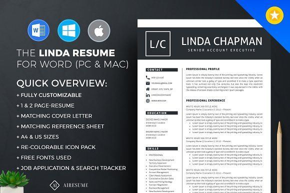 you get 1 & 2-page resume template, a cover letter to match and a reference page – all easy to customize and professionally designed. These templates can be used for many years over and over and over. Very easy to customize, you can make any kind of adjustments on these templates to suit your taste. @creativework247