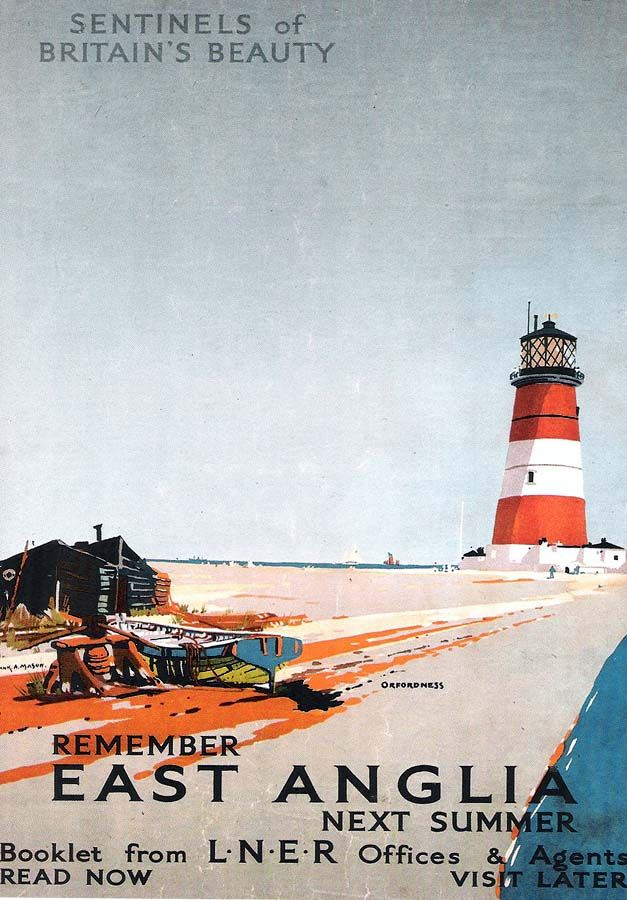 """""""Remember East Anglia Next Summer"""" a London and North Eastern Railway advertisement featuring Orfordness, Suffolk. Greeting card from a poster in the National Railway Museum collection."""