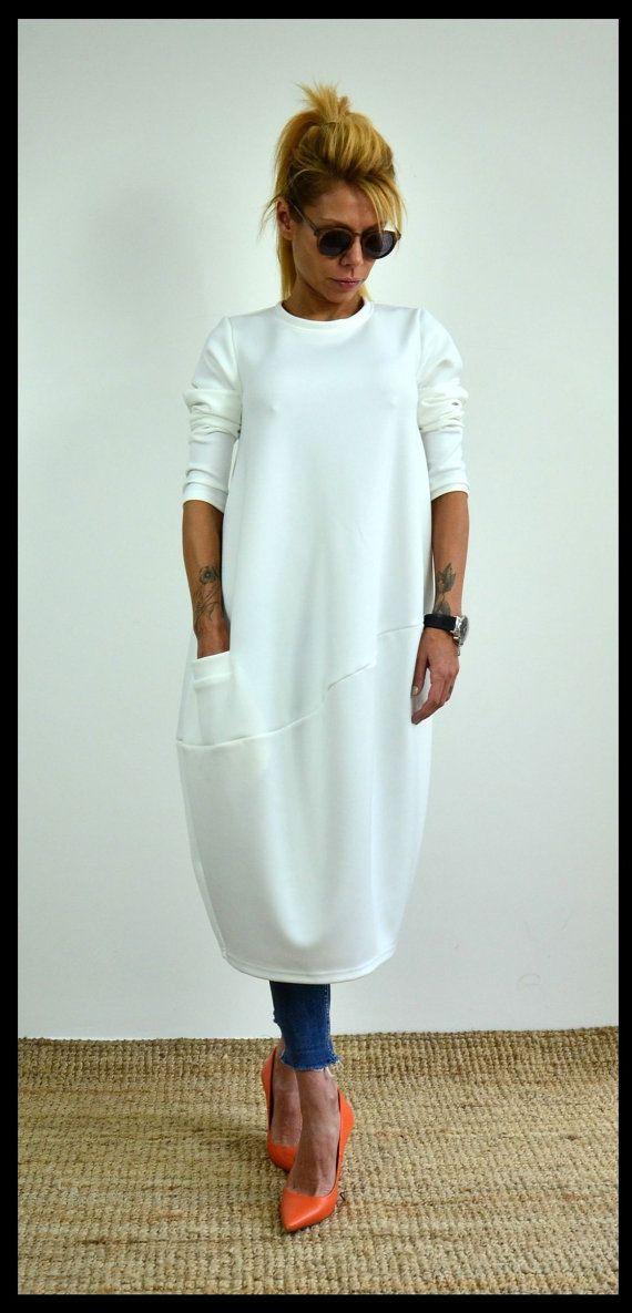 White loose tunic / Oversize neoprene dress by ClothesByLockerRoom