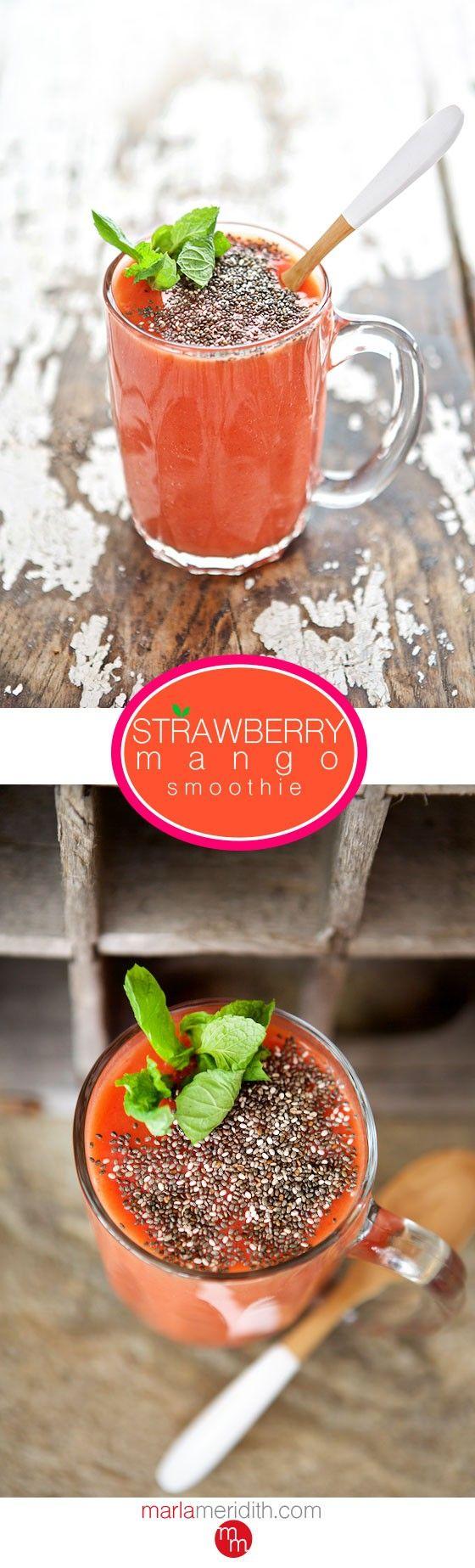 Strawberry Mango Smoothie | A perfectly healthy & fruity drink! MarlaMeridith.com #glutenfree #vegan #recipe