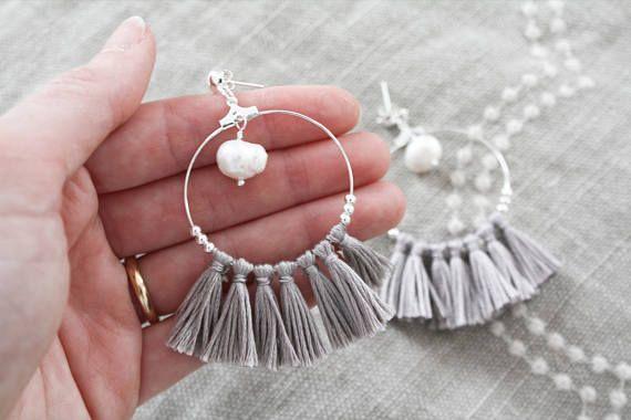 Boho chic hoop tassel earrings | www.thatsminebijoux.etsy.com