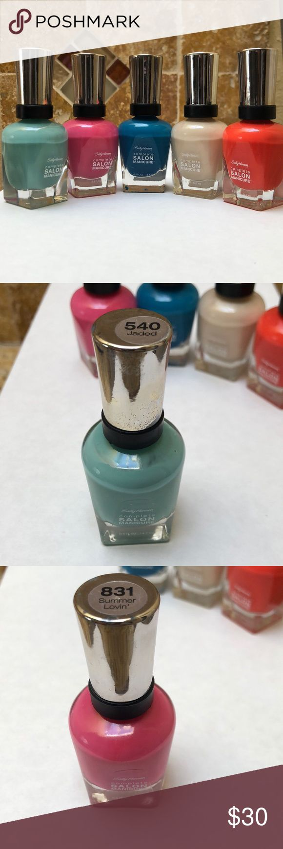 Sally Hansen nail polish Sally Hansen nail polish in 5 different colors. Hardly ever used. 540 jaded, 831 Summer lovin', 530 please sea me, 310 almost almond, 832 beach redy. Sally Hansen Other