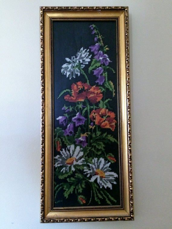 Framed Vintage Tapestry Picture. Poppies and Garden Flowers Framed Gobelin. Needlepoint Picture in Decorative Gilded Frame ROP0221