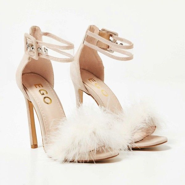 Pia Perspex Strap Fluffy Heel In Nude Faux Suede ($40) ❤ liked on Polyvore featuring shoes, pumps, nude footwear, faux suede pumps, nude court shoes, faux suede shoes and nude shoes
