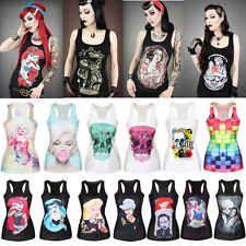 New Women Tank Top Print Gothic Punk Rebel Ariel Mermaid Vest Sleeveless T Shirt