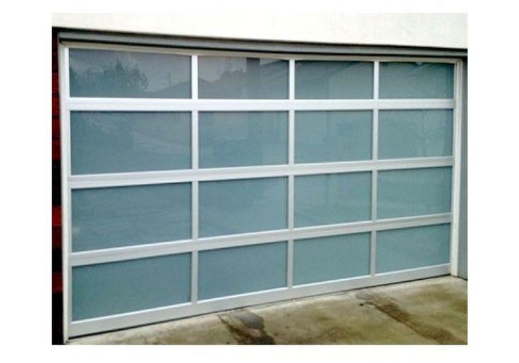 GlassWhiteLami - Full View Aluminum & White Laminated Glass Garage Door