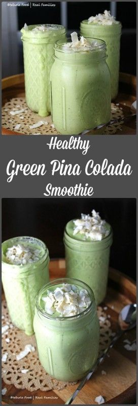 Healthy Green Pina Colada Smoothie from Whole Food | Real Families. Sweetened with whole fruit. Your kids will even love the minty green color. Just don't tell them there is spinach in there! Find the recipe at www.wholefoodrealfamilies.com.