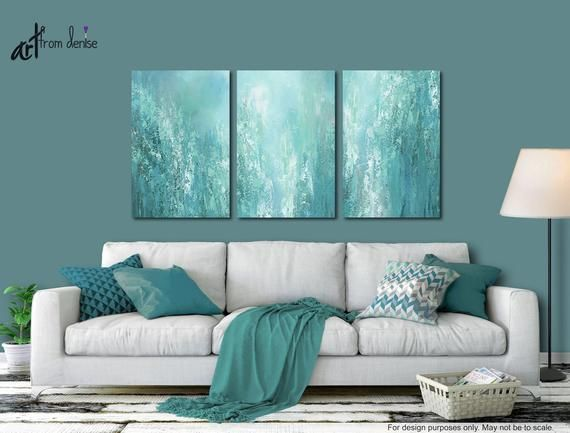 Extra large abstract 3 piece canvas art for grey teal - Master bedroom art above bed ...