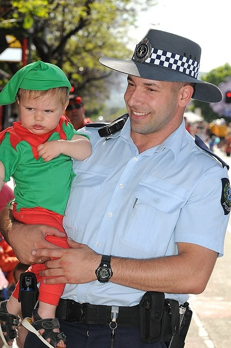 SAPOL's little helper at Adelaide's annual Christmas Pageant, 2011. #christmas #pageant #police #southaustralia