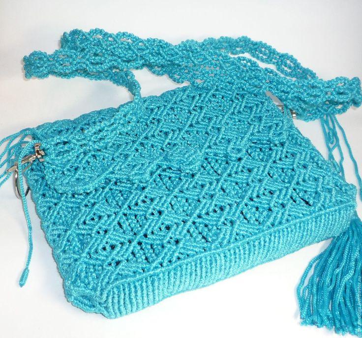 """Купить Плетеная женская сумка-кошелек """"Океан"""" - бирюзовый, однотонный, сумка женская"""