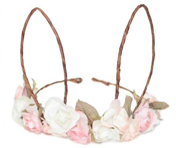 Bunny Ears Floral Tiara One size by BalloonandPaper on Etsy