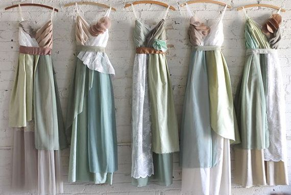 custom bridesmaids dresses in greens with brown and ivory accents