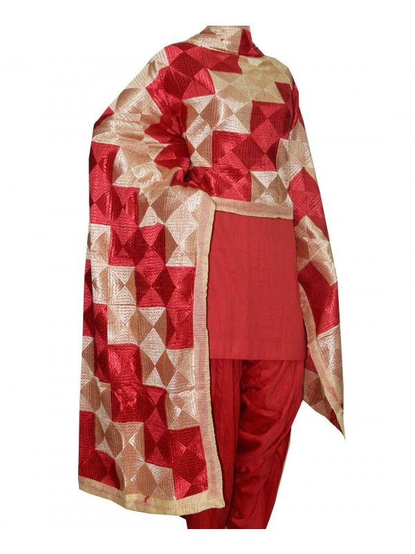 Phulkari Dupatta Full Jaal Phulkari Dupatta  Semi Chinnon 2.3 Meter Length  Computerised All over Phulkari Work  Wash Care Handwash Shop Now : http://www.jankiphulkari.com/phulkari-dupatta-full-jaal-jdmp1031