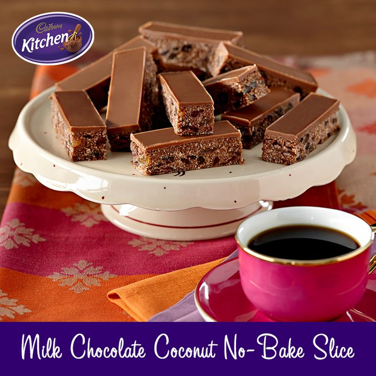 Super quick to make, this no-bake #slice goes down a treat at picnics! #dessert #chocolate To view the #CADBURY product featured in this recipe visit http://www.cadburykitchen.com.au/products/view/bournville-cocoa/