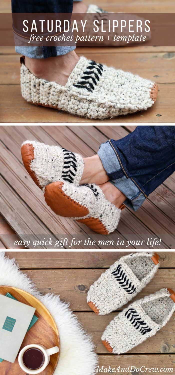 So cool! These modern adult crochet slippers come are perfect for men and women and make a great Father's Day, Mother's Day, Christmas or birthday gift idea! Get the free pattern and leather sole template and watch the video tutorial on Make and Do Crew's