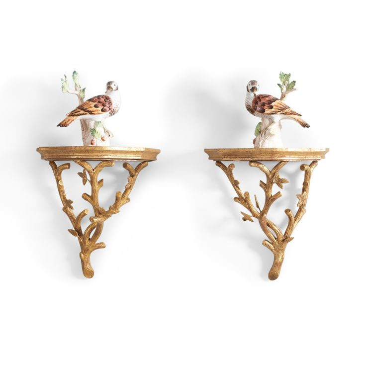 Pair Of Bennington Wall Brackets In Gold Leaf