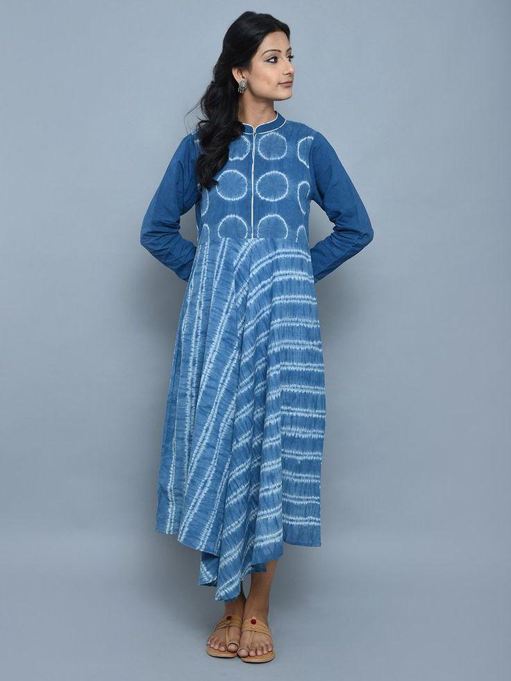 Indigo Cotton Shibori Dyed Asymmetrical Dress