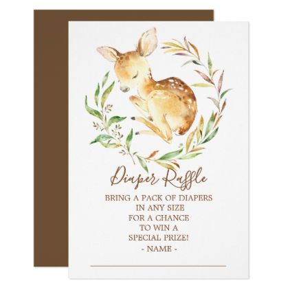 Little Deer Baby Shower Diaper Raffle Ticket Card - baby gifts giftidea diy unique cute