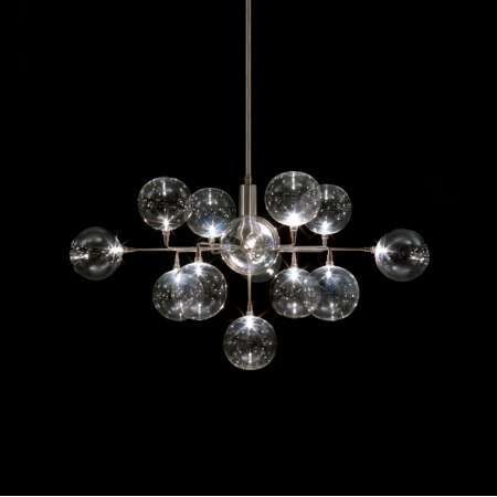The Beautiful Cluster Crown Pendant Light Showcases 13 Stunning Glass  Globes Set With Stainless Steel Arms.