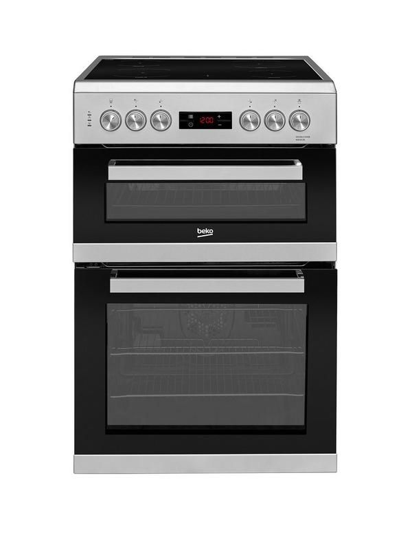 Beko KDC653S 60cm Electric Cooker with Ceramic Hob - Silver With a fully programmable timer, this double oven electric cooker helps you keep track of your food's progress as it cooks. Easy clean 60cm ceramic hob.4