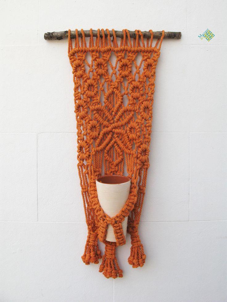 Macetero tapiz de macram con motivo de flor colgantes - Colgantes de macrame ...