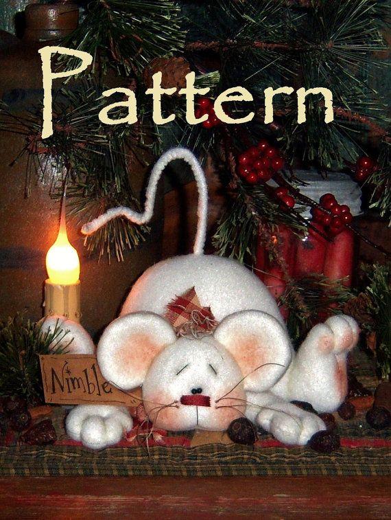Primitive Patti's Ratties Christmas Mouse Shelf Doll Ornie Pattern 549
