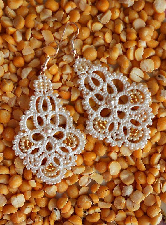 Ivory Lace Earrings Dangle Earrings Tatted Earrings Beaded Earrings Wedding Jewelry Rustic Earrings Handmade  Earrings