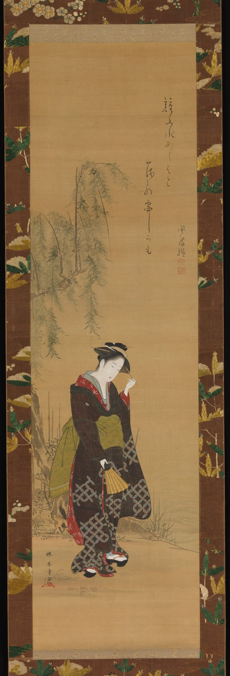 Lush and sensual, ukiyo-e paintings of the eighteenth century idealized beauty, placing courtesans and young women in indoor and outdoor seasonal settings. Shunshō—an Edo bon vivant, painter, and print designer-was renowned for his facility in depicting actors and beautiful women