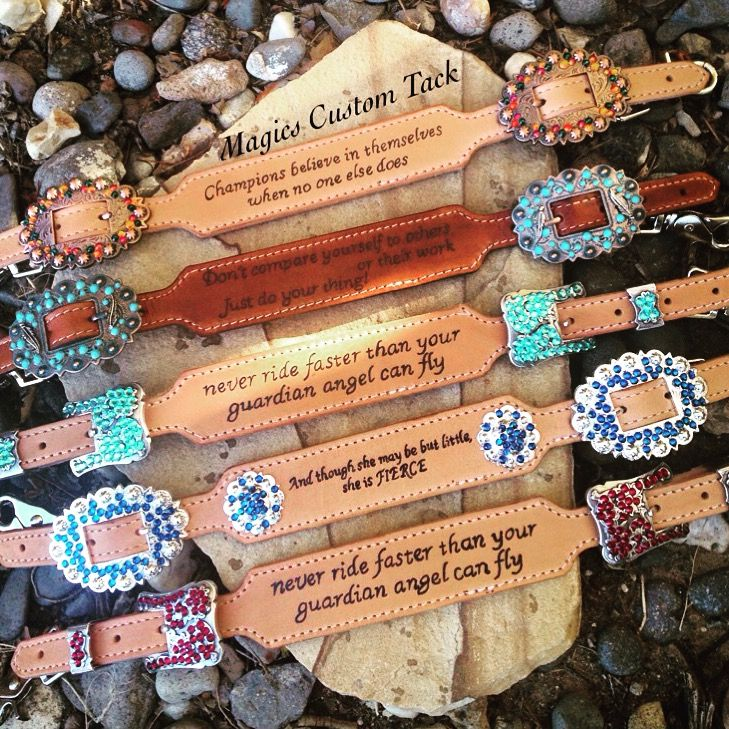 Magics custom tack wither straps with inspirational horse cowgirl quotes and bling